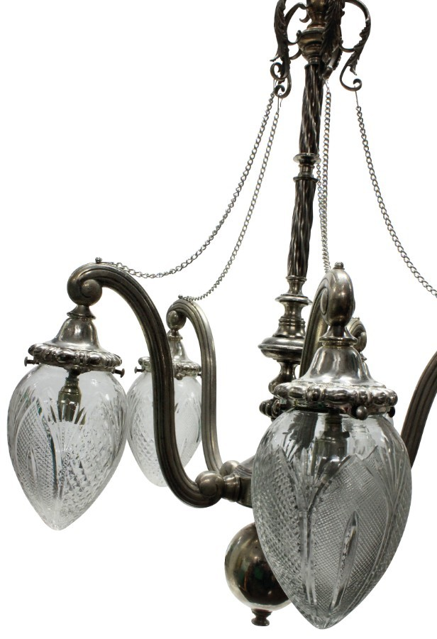Antique AN UNUSUAL VICTORIAN SILVER PENDANT LIGHT