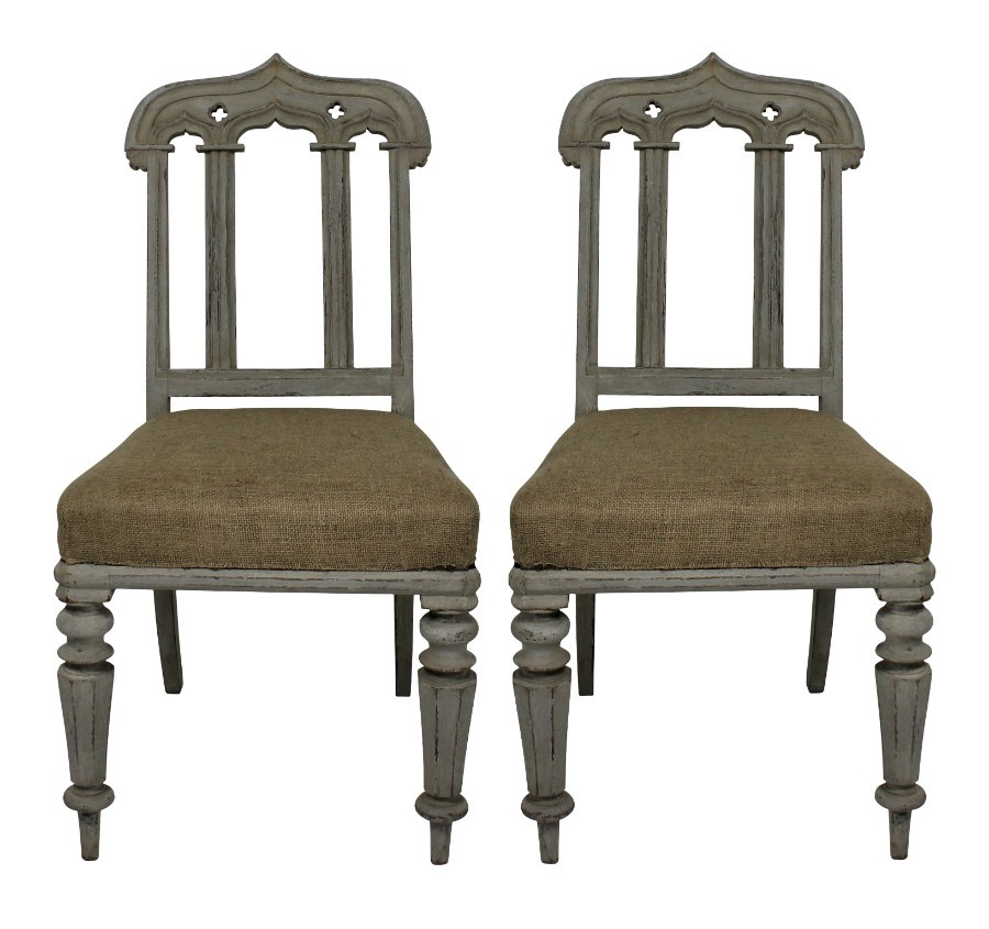 A PAIR OF WILLIAM IV PAINTED GOTHIC REVIVAL CHAIRS