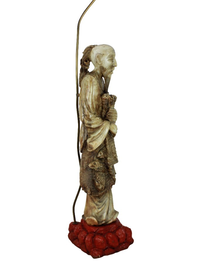 Antique A CHINESE MARBLE FLOOR LAMP