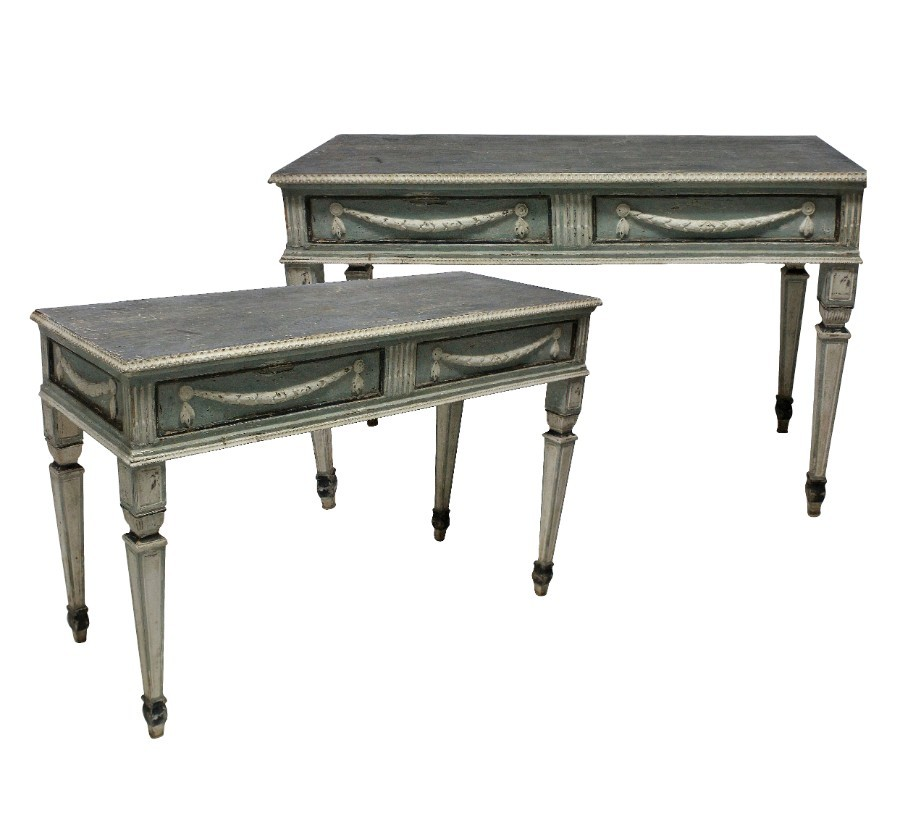 A PAIR OF LARGE XVIII CENTURY SWEDISH CONSOLE TABLES