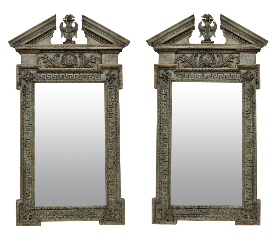A PAIR OF LARGE ENGLISH CARVED & PAINTED XVIII STYLE MIRRORS