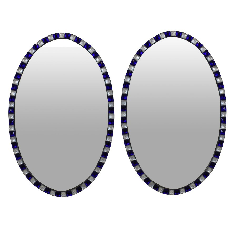 A PAIR OF GEORGIAN STYLE IRISH MIRRORS WITH COBALT BLUE GLASS & ROCK CRYSTAL FACETED BORDERS