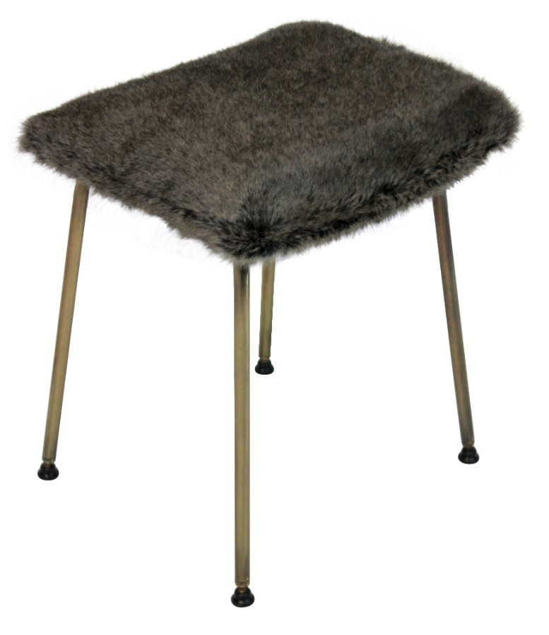 A MID CENTURY STOOL IN FUR