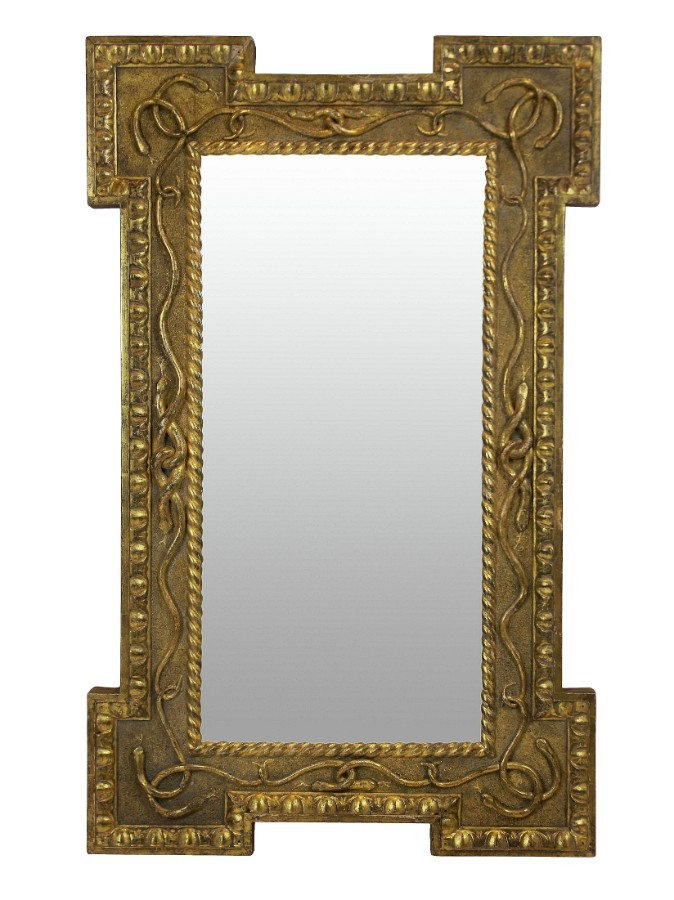 A REGENCY GILT WOOD MIRROR WITH SERPENT DECORATION