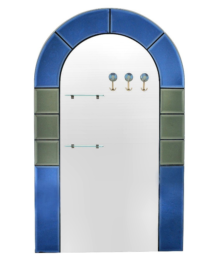 A LARGE FLOOR STANDING HALL MIRROR WITH COAT HOOKS