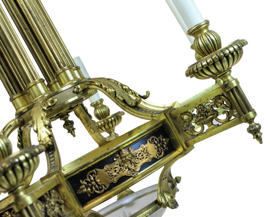 Antique A LARGE FRENCH GILT BRONZE NEO-CLASSICAL CHANDELIER