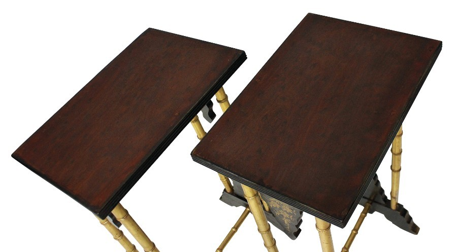 Antique A PAIR OF ENGLISH JAPANNED WINE TABLES