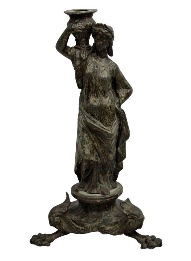 A Grand Tour Bronze Danaid Candlestick