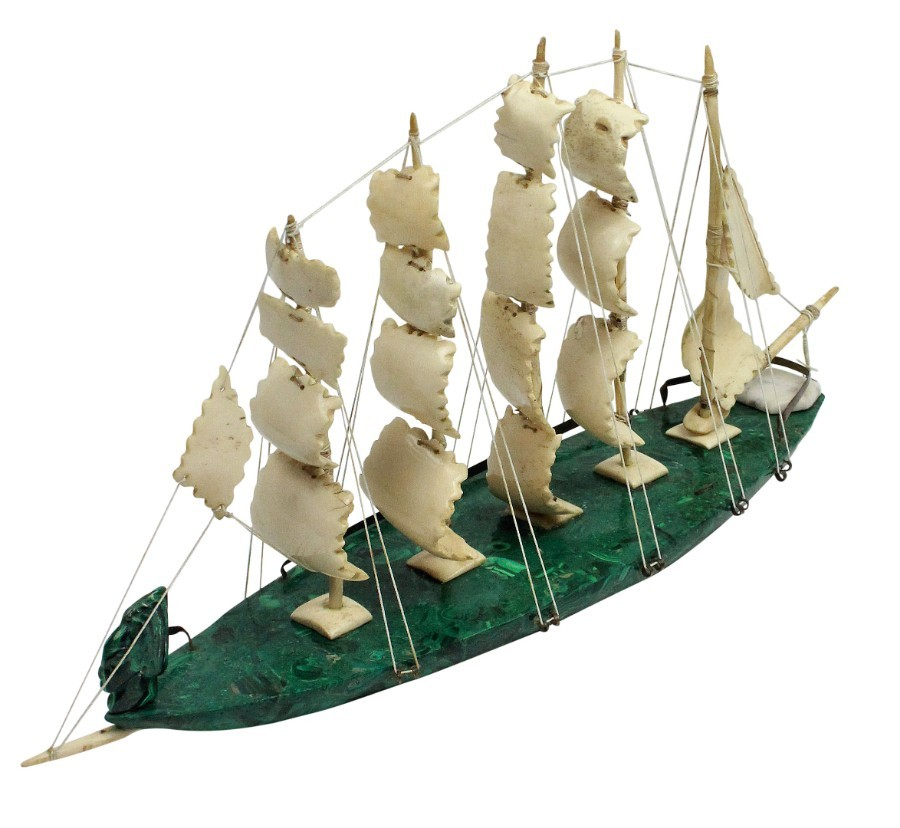 A RUSSIAN SAILING SHIP IN MALACHITE & BONE