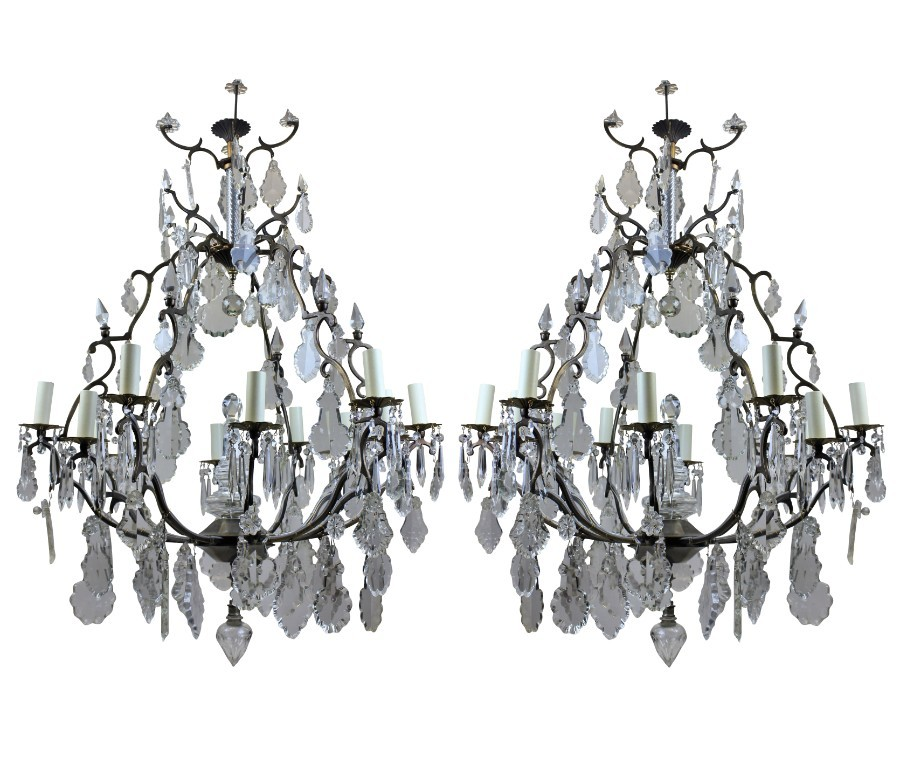 A PAIR OF LARGE FRENCH CAGE CHANDELIERS