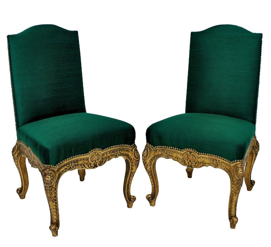 A PAIR OF XIX CENTURY SPANISH GILT WOOD CHAIRS
