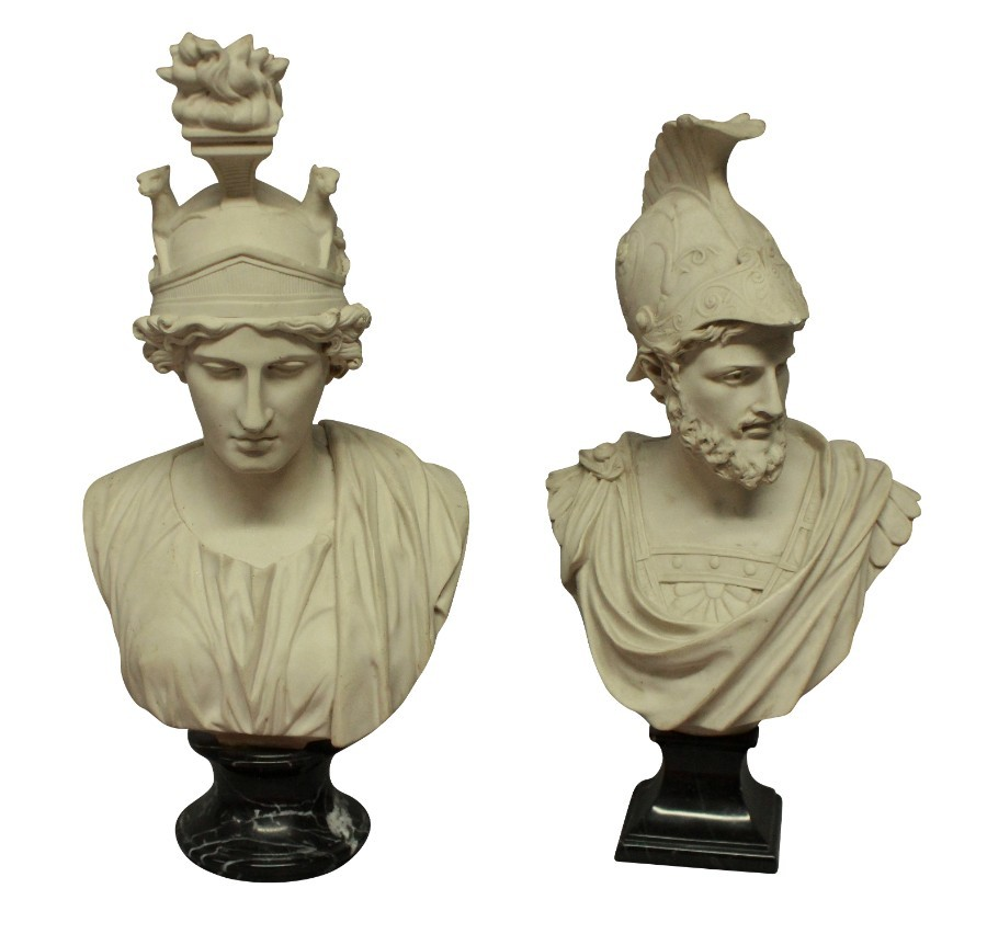 A PAIR OF BUSTS DEPICTING AJAX & ROMA