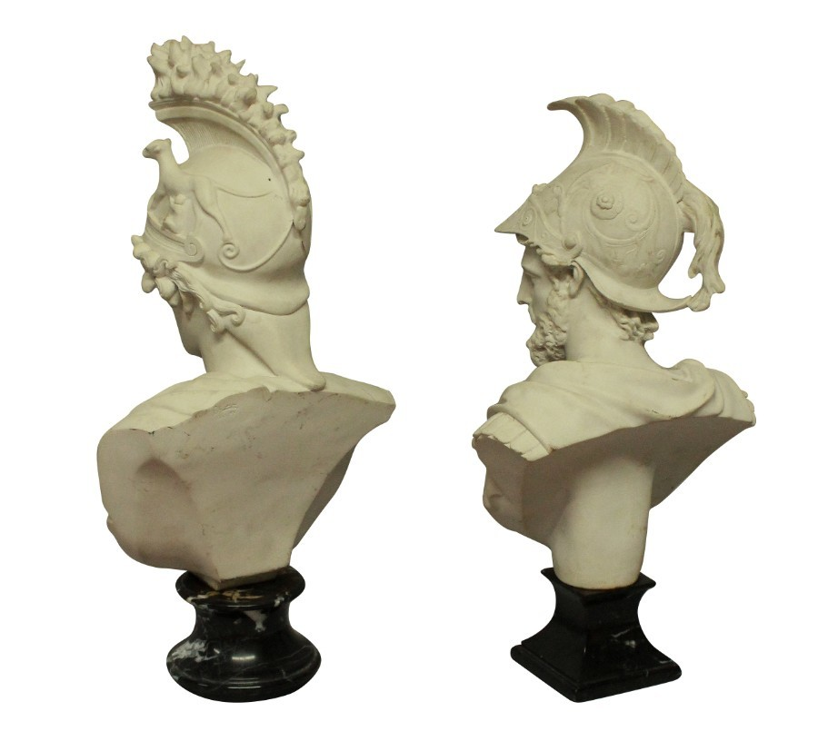 Antique A PAIR OF BUSTS DEPICTING AJAX & ROMA