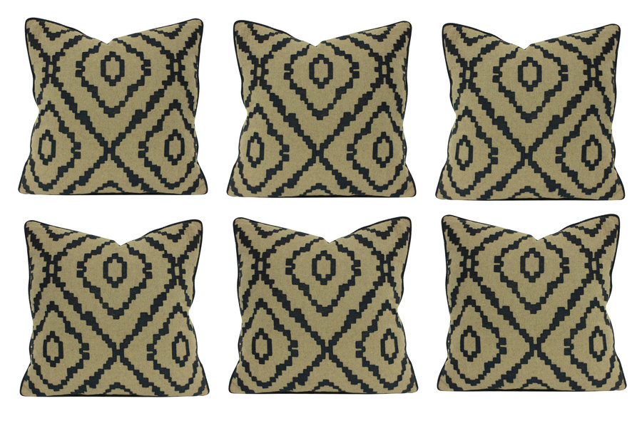 A SET OF SIX BESPOKE WOOL CUSHIONS