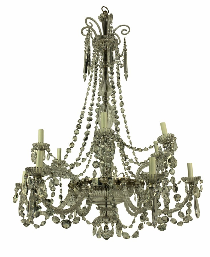 FINE XIX CENTURY ENGLISH CUT GLASS CHANDELIER BY PERRY & CO