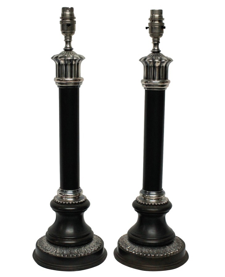 A PAIR OF BRONZE & SILVER NEO-CLASSICAL LAMPS