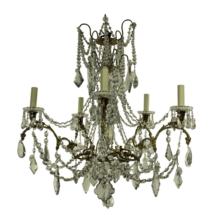 A XIX CENTURY ORMOLU & CUT GLASS SIGNED BACCARAT CHANDELIER