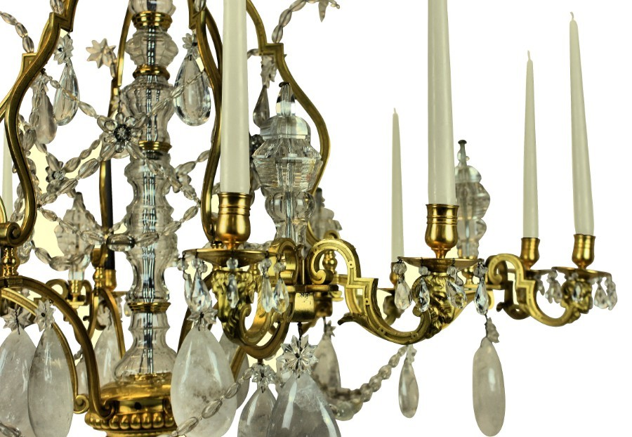 Antique A LARGE LOUIS XV STYLE GILT BRONZE ROCK CRYSTAL CHANDELIER