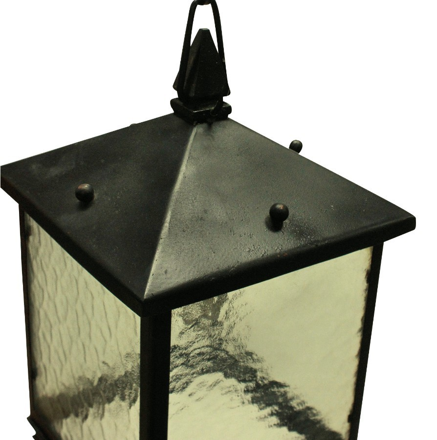 Antique A PAIR OF SQUARE WROUGHT IRON LANTERNS