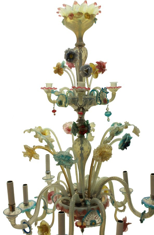 A COLOURFUL LATE XIX CENTURY MURANO CHANDELIER