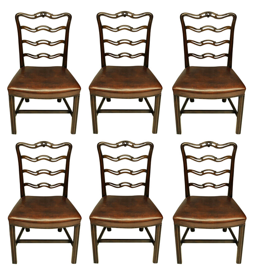 Antique A SET OF SIX GEORGE III STYLE DINING CHAIRS