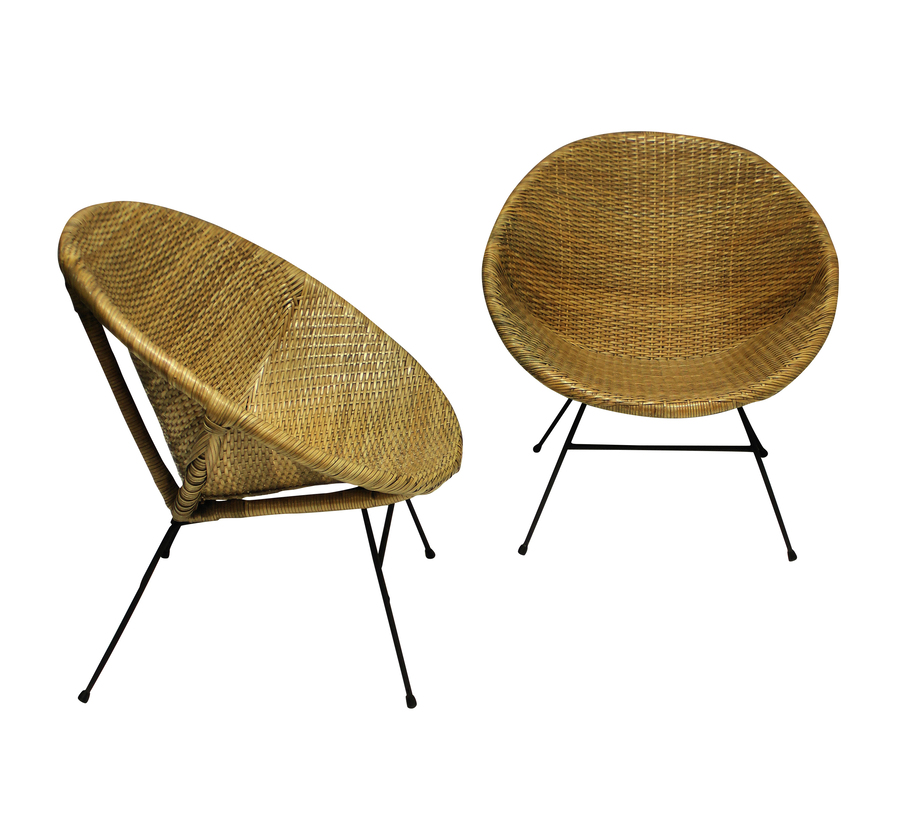 Antique A PAIR OF UNUSUAL FRENCH MID-CENTURY RATTAN CHAIRS