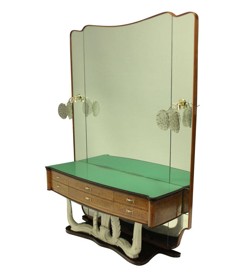 Antique A STYLISH ITALIAN MID-CENTURY HALL CONSOLE WITH MIRROR