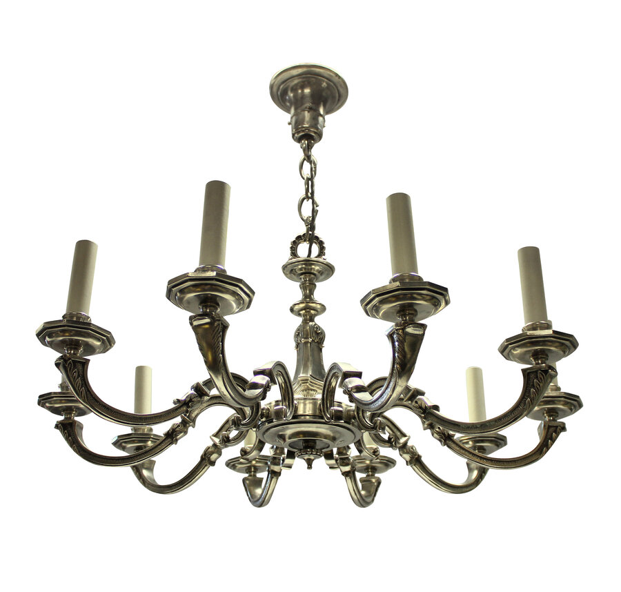 A TEN BRANCH SILVER PLATED CHANDELIER