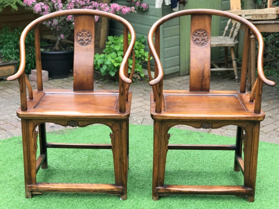 Pair 19th Century Chinese Horseshoe Chairs in Ming Style Hardwood Nanmu