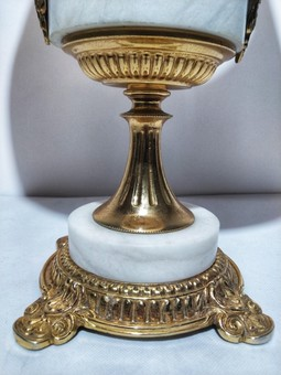Antique Lamp Bronze And White Onyx H 61 Cm. 20th Century