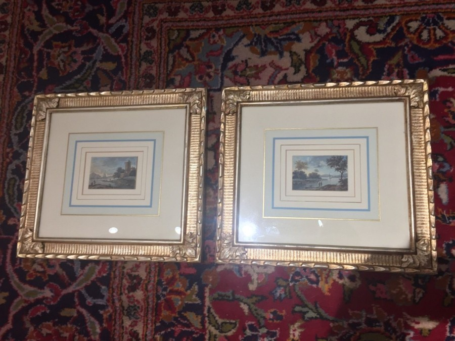 FREE SHIPPING Pair of 19th Century Watercolor Paintings