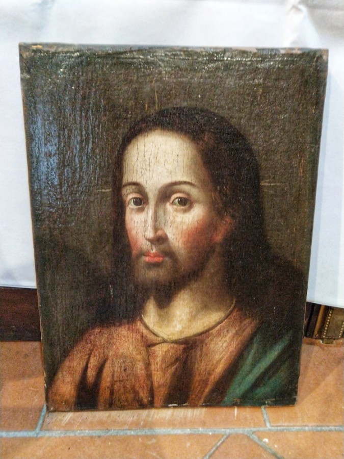 FREE SHIPPING 17th Century Oil on Canvas Jesus Christ Portrait