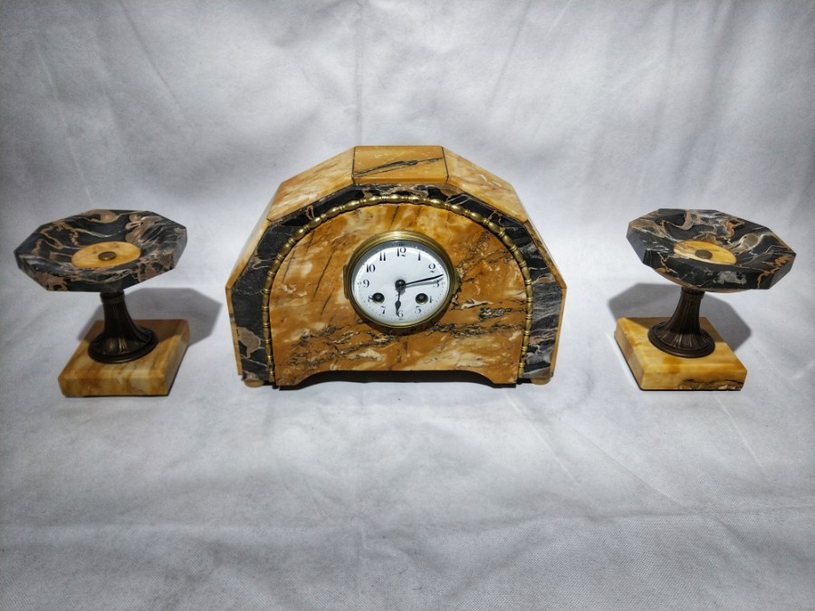 FREE SHIPPING 20th Century Art Deco Mantel Clock and Two Cassolettes