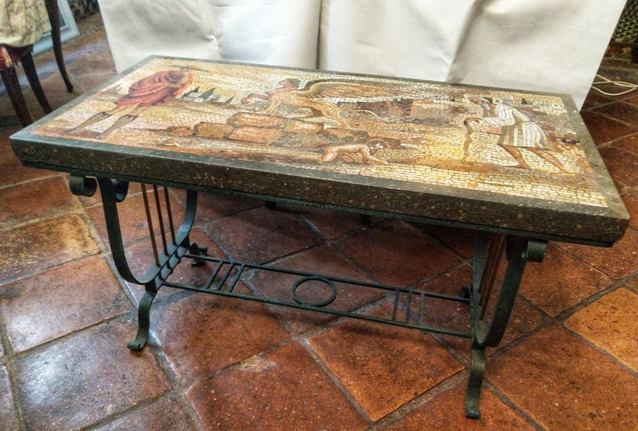 Early 20th Century Florentine Low Table with Mosaic