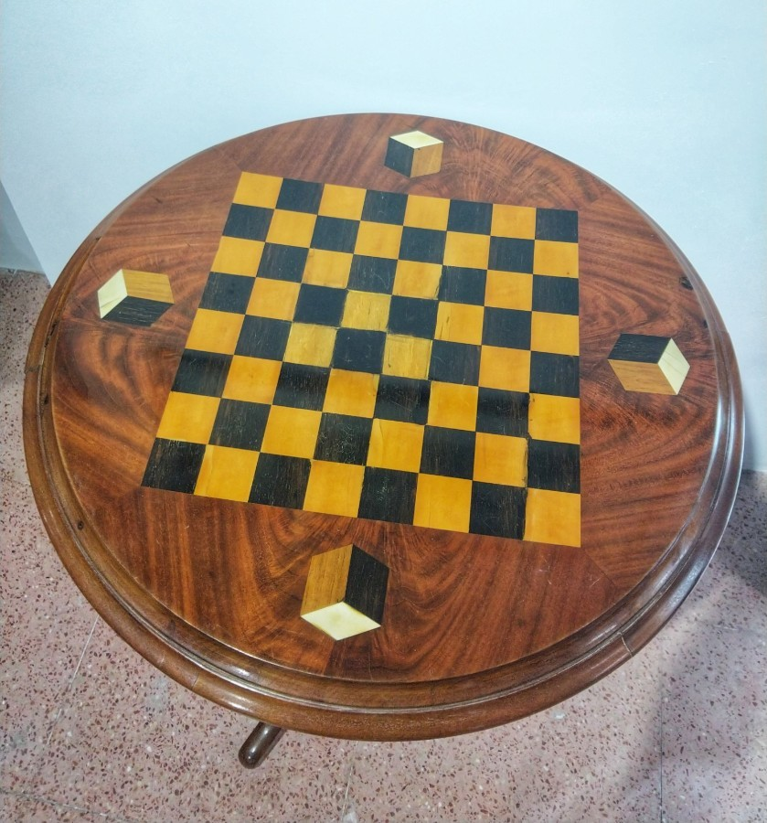 Mahogany Game Table Inlaid 19th Century