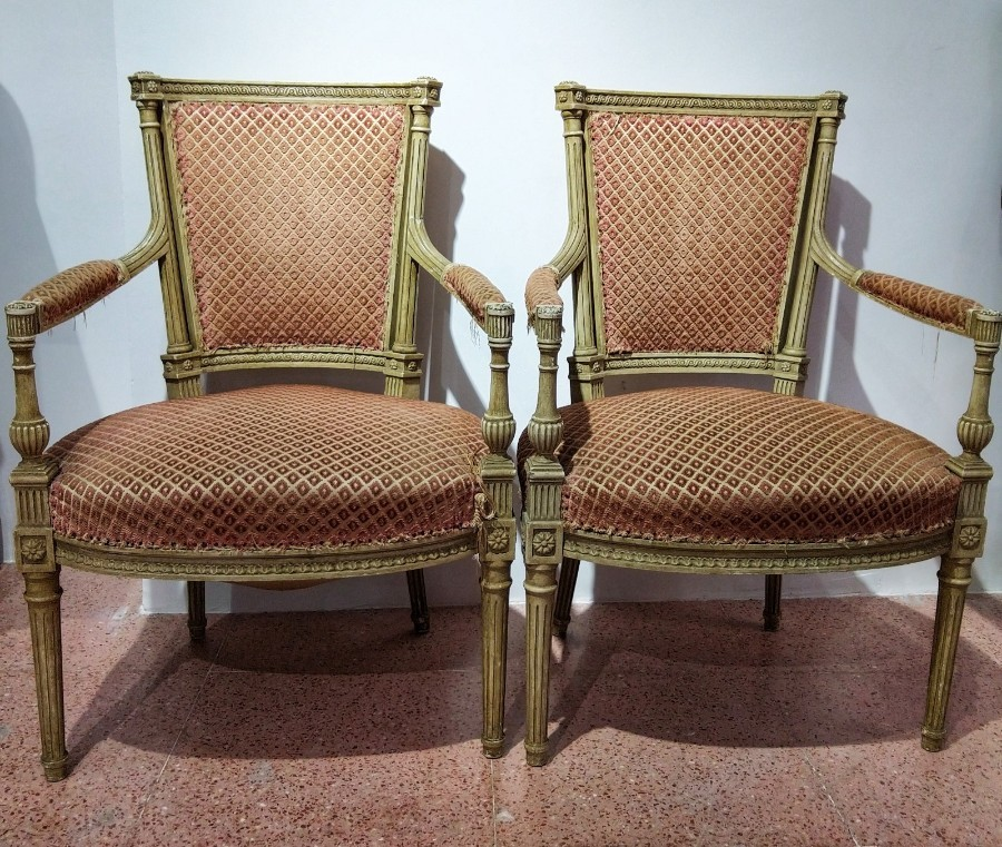 Pair Of Louis XVI Armchairs Of The 20th Century