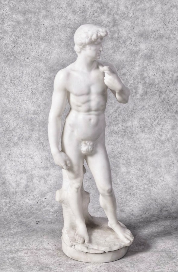 David in Carrara Marble After Michelangelo H 51 Cm. 19th Century