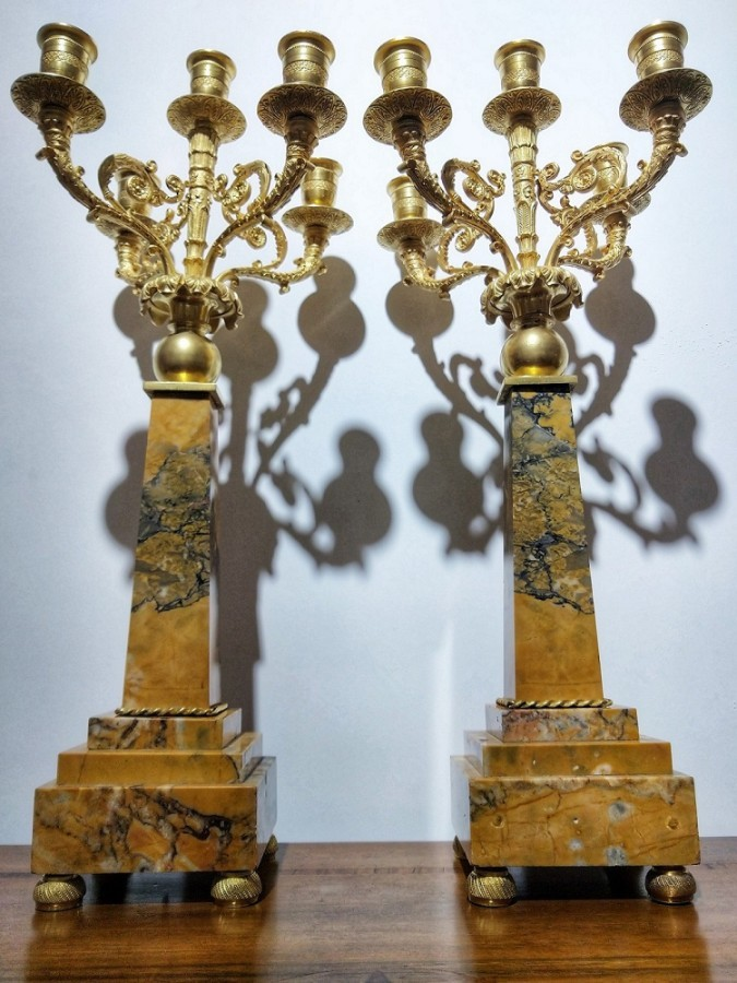Pair Of Candelabra Candlesticks Gilt Bronze And Marble H 51 Cm. 19th Century