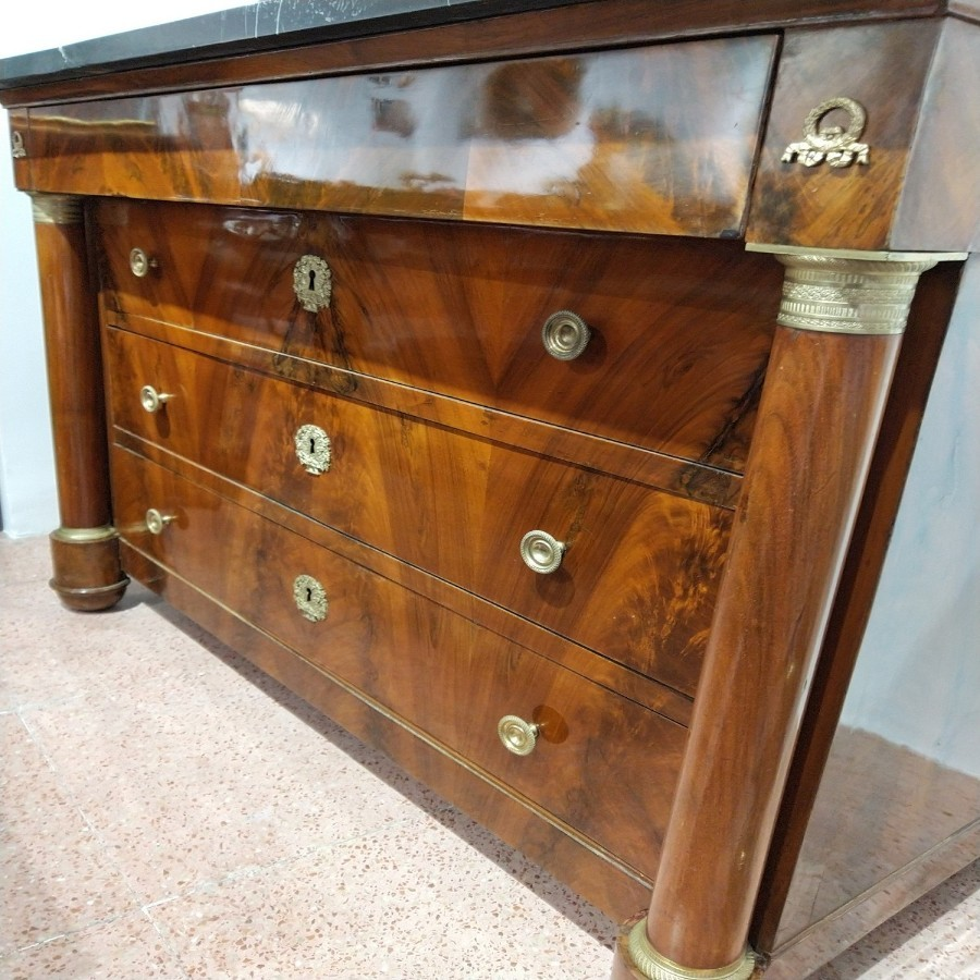 Empire Walnut Marble And Gilt Bronze Commode 19th Century