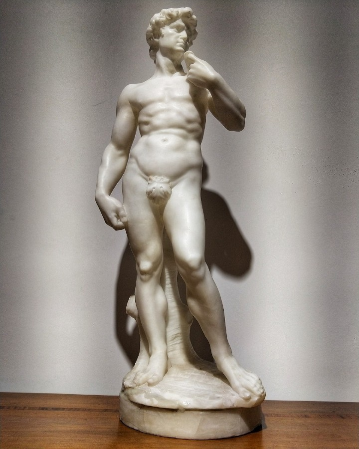 Sculpture David In Marble After Michelangelo H 51 Cm. 19th Century