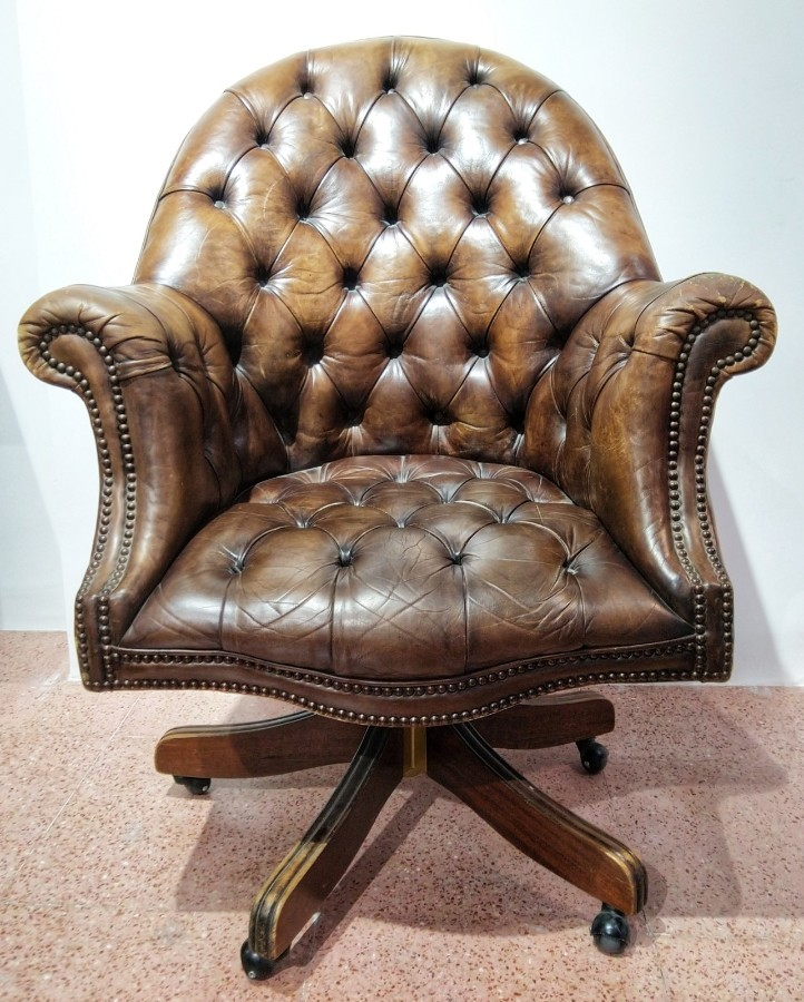 Office Chair Chesterfield  Captain Leather 20th Century