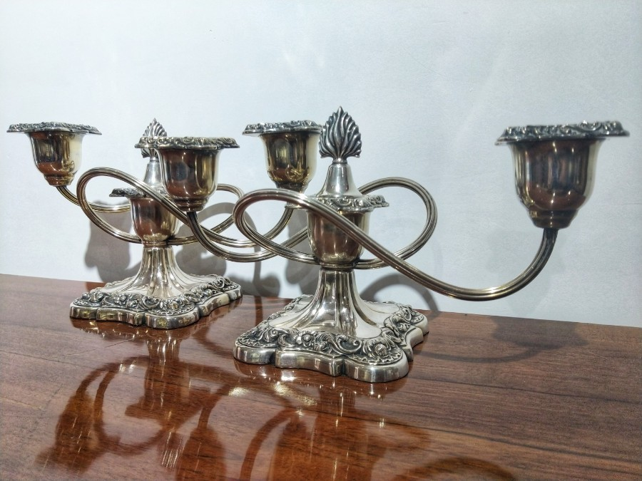 Pair Of Italian Candelabra Louis XVI Style In Silver Metal 19th Century