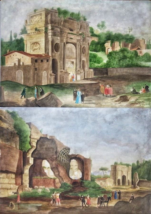Onorato Carlandi (1848-1939) Pair Of Watercolors Roman Forum 19th Century