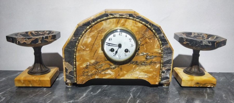 Art Deco Clock Portoro And Siena Marble 20th Century