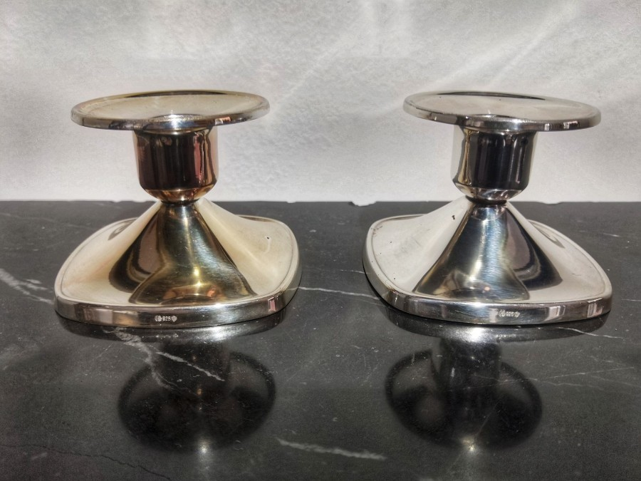 Pair Of Candlesticks In 925 Sterling Silver From The 20th Century
