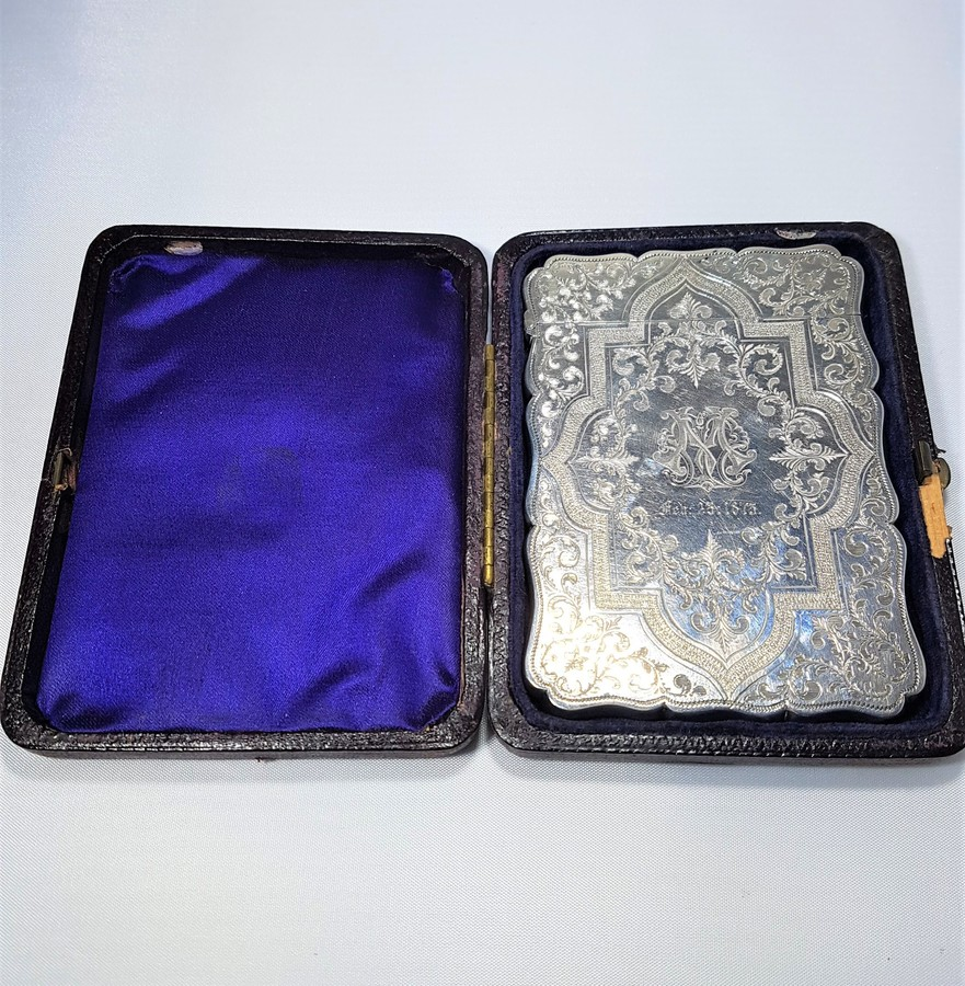 Antique Victorian Solid Silver Card Case Boxed - Thornton - Birmingham 1870