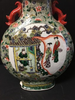 Antique A 19th century Chinese porcelain famille vert moon flask.
