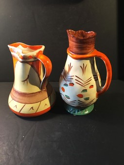 Antique Two Myott Art Deco Jug Vases.