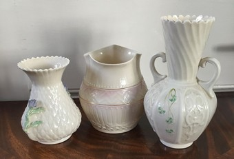 Antique Three Belleek porcelain vases.