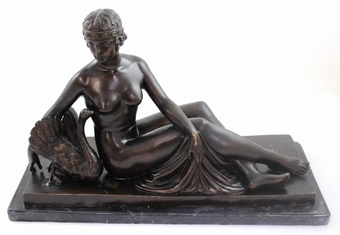 Antique An Art Deco style bronze sculpture of Leda and the Swan,